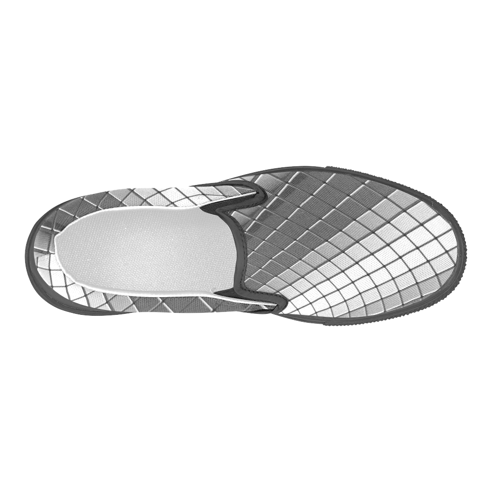 Abstract 3d Silver Chrome Cubes Men's Slip-on Canvas Shoes (Model 019)