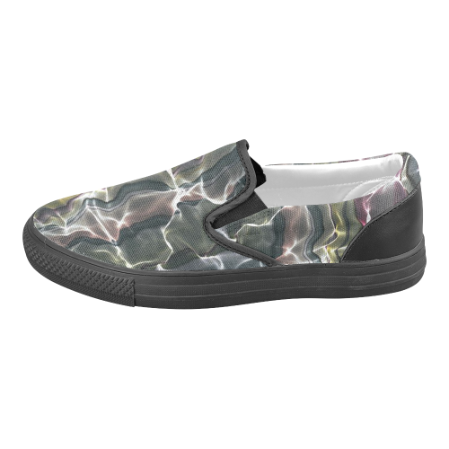 Abstract Wavy Mesh Women's Unusual Slip-on Canvas Shoes (Model 019)
