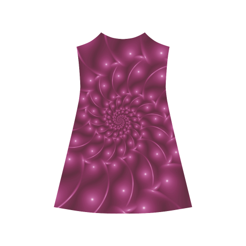 Glossy Plum Pink Spiral Fractal Alcestis Slip Dress (Model D05)