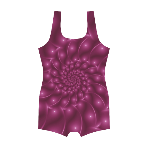 Glossy Plum Pink Spiral Fractal Classic One Piece Swimwear (Model S03)