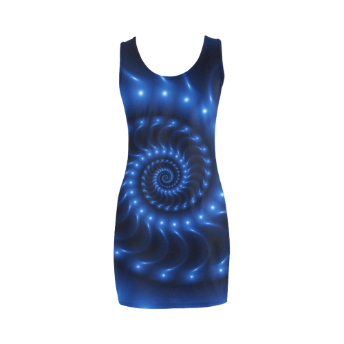 Glossy Blue Spiral Fractal Medea Vest Dress (Model D06)