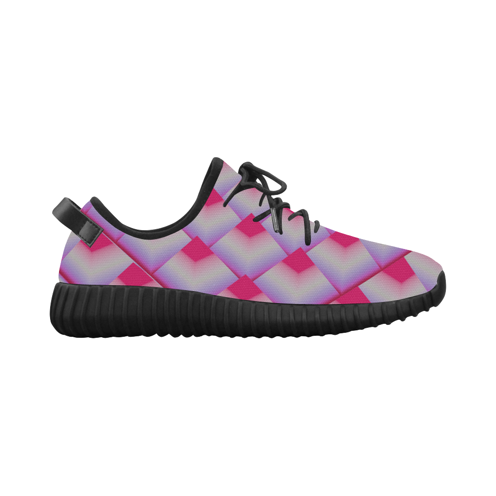 3D Geometric Pink Pyramids Grus Women's Breathable Woven Running Shoes (Model 022)