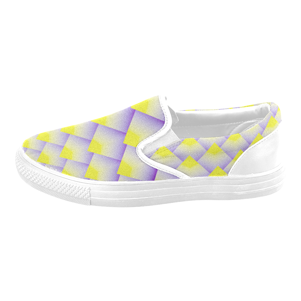 Geometric 3D Purple and Yellow Pyramids Men's Slip-on Canvas Shoes (Model 019)