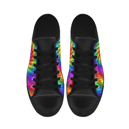 Psychedelic Rainbow Spiral Aquila Microfiber Leather Men's Shoes (Model 028)