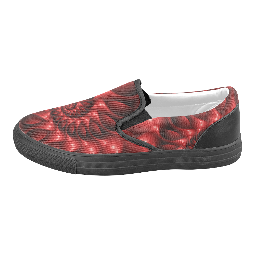 Digital Art Glossy Red Fractal Spiral Women's Unusual Slip-on Canvas Shoes (Model 019)