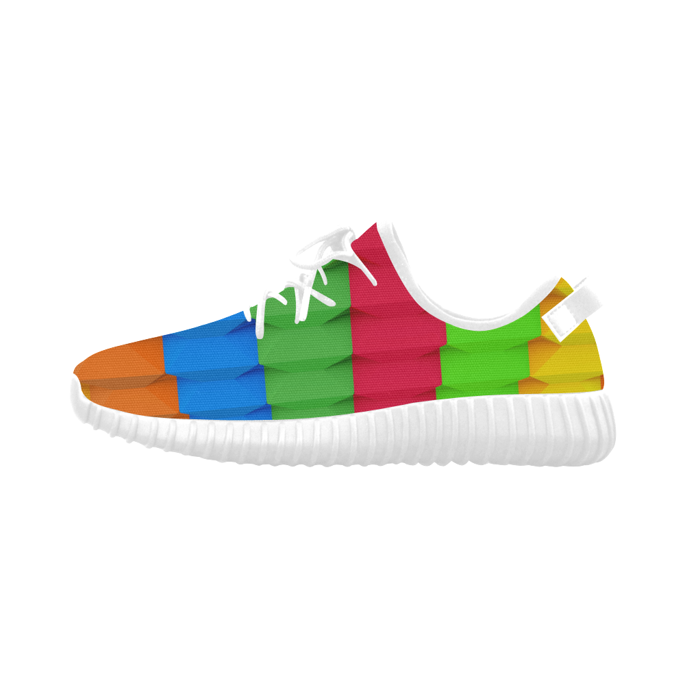 Colorful 3D Geometric Blocks Grus Women's Breathable Woven Running Shoes (Model 022)