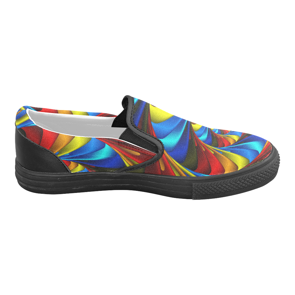 Psychedelic Rainbow Spiral Men's Unusual Slip-on Canvas Shoes (Model 019)