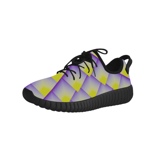 Geometric 3D Purple and Yellow Pyramids Grus Women's Breathable Woven Running Shoes (Model 022)