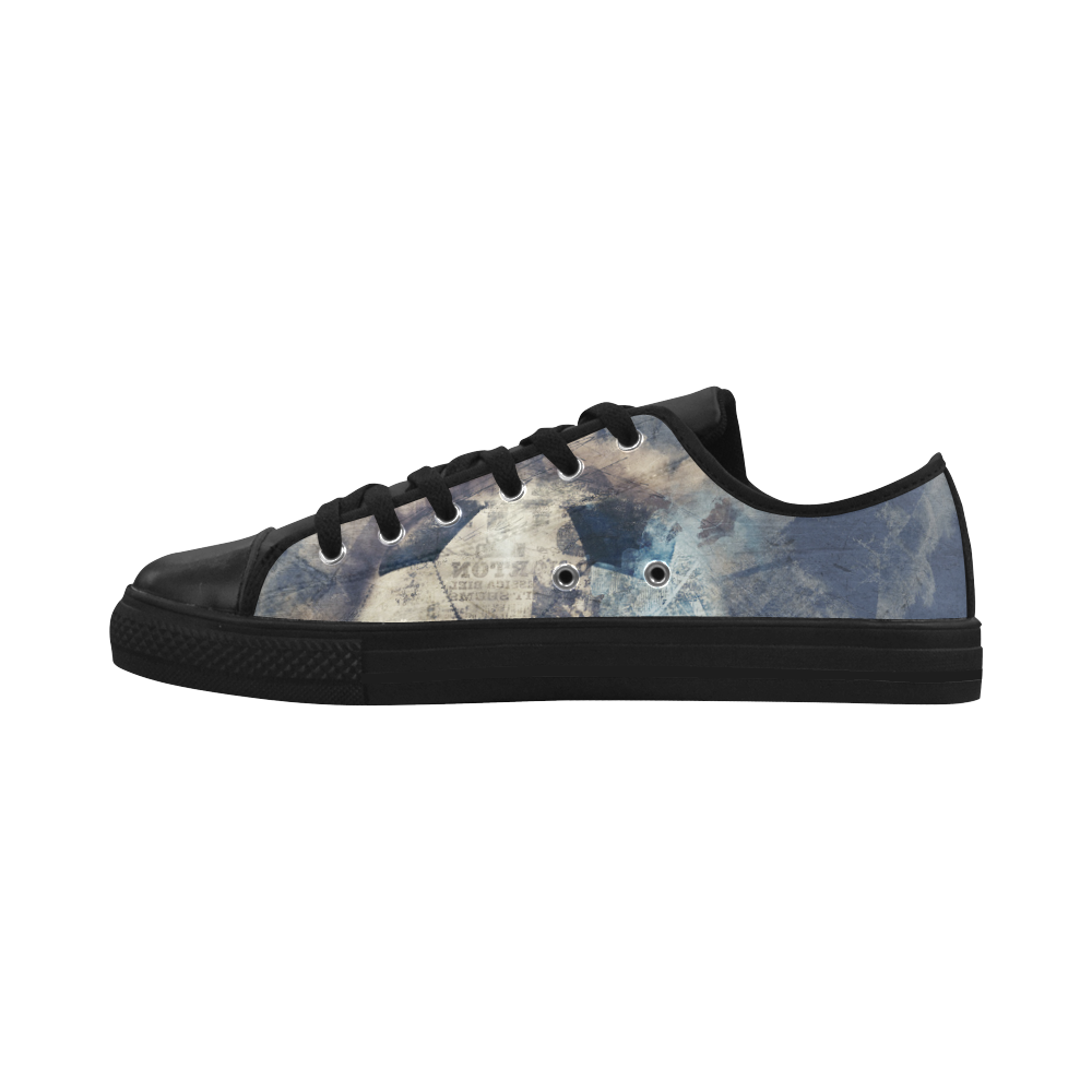 Abstract Blue Grunge Soccer Aquila Microfiber Leather Women's Shoes (Model 028)