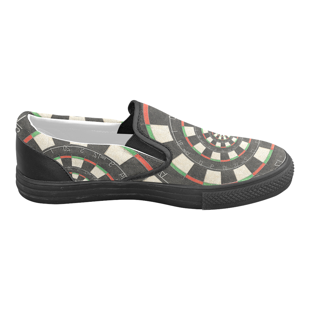 Dart Board Spiral Droste Women's Unusual Slip-on Canvas Shoes (Model 019)