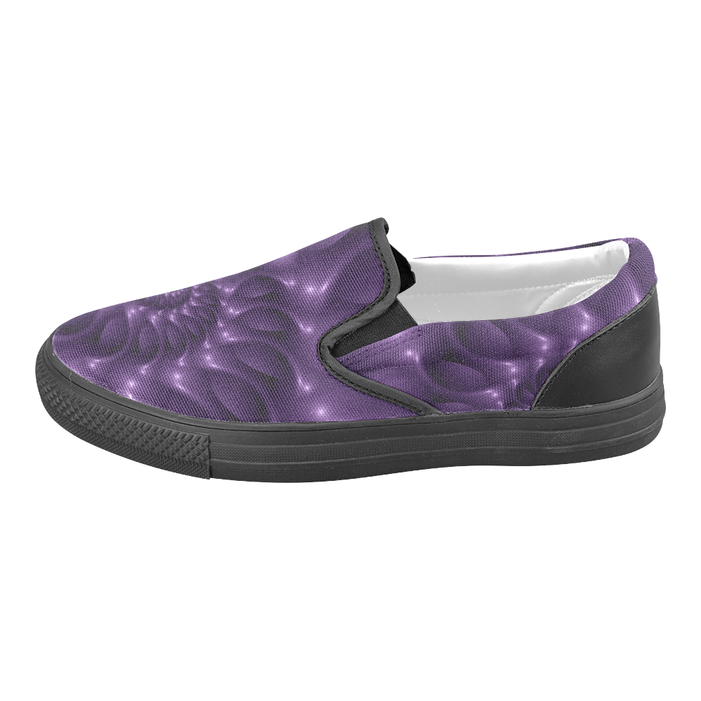 Digital Art Glossy Purple Fractal Spiral Men's Slip-on Canvas Shoes (Model 019)