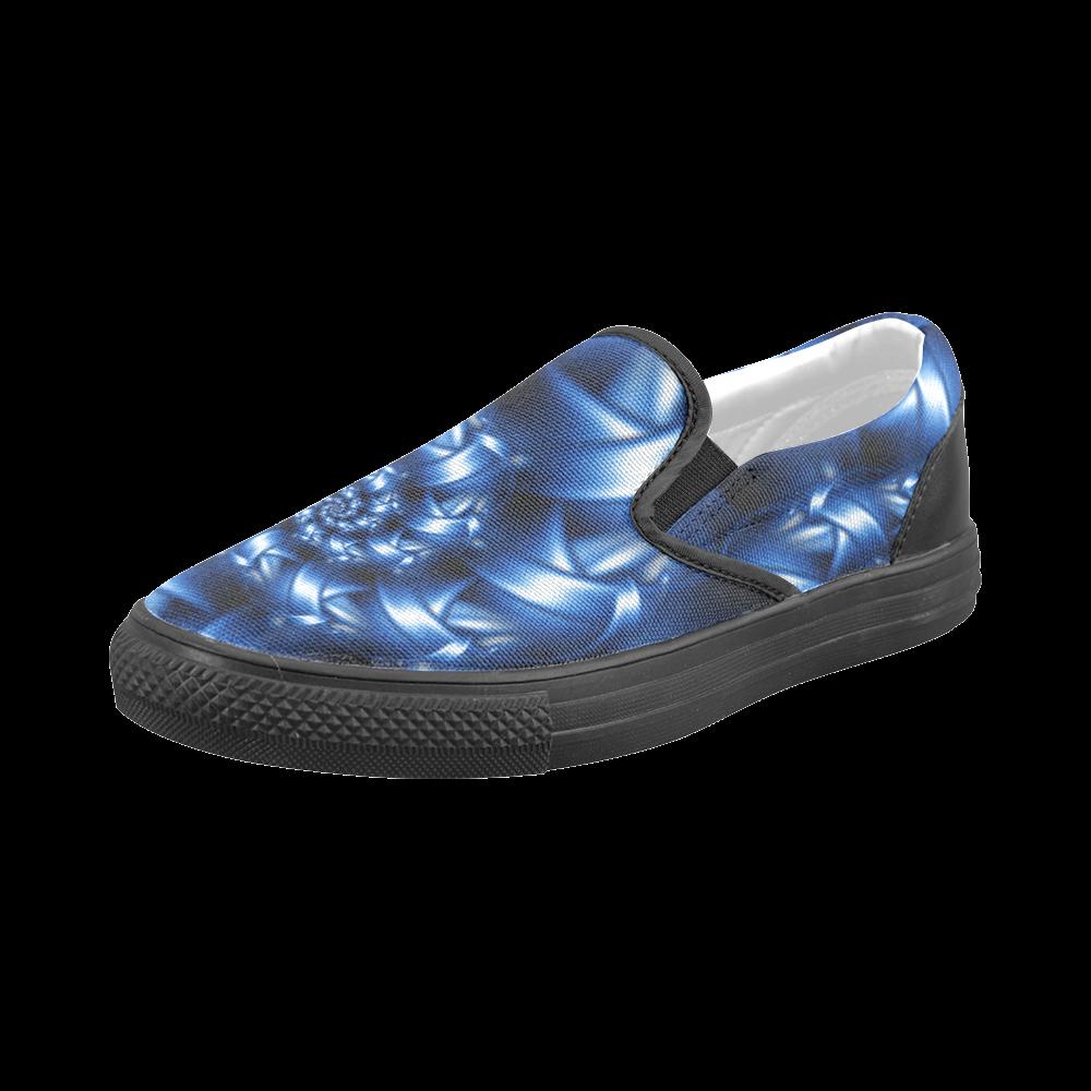 Digital Art Blue Fractal Spiral Men's Slip-on Canvas Shoes (Model 019)