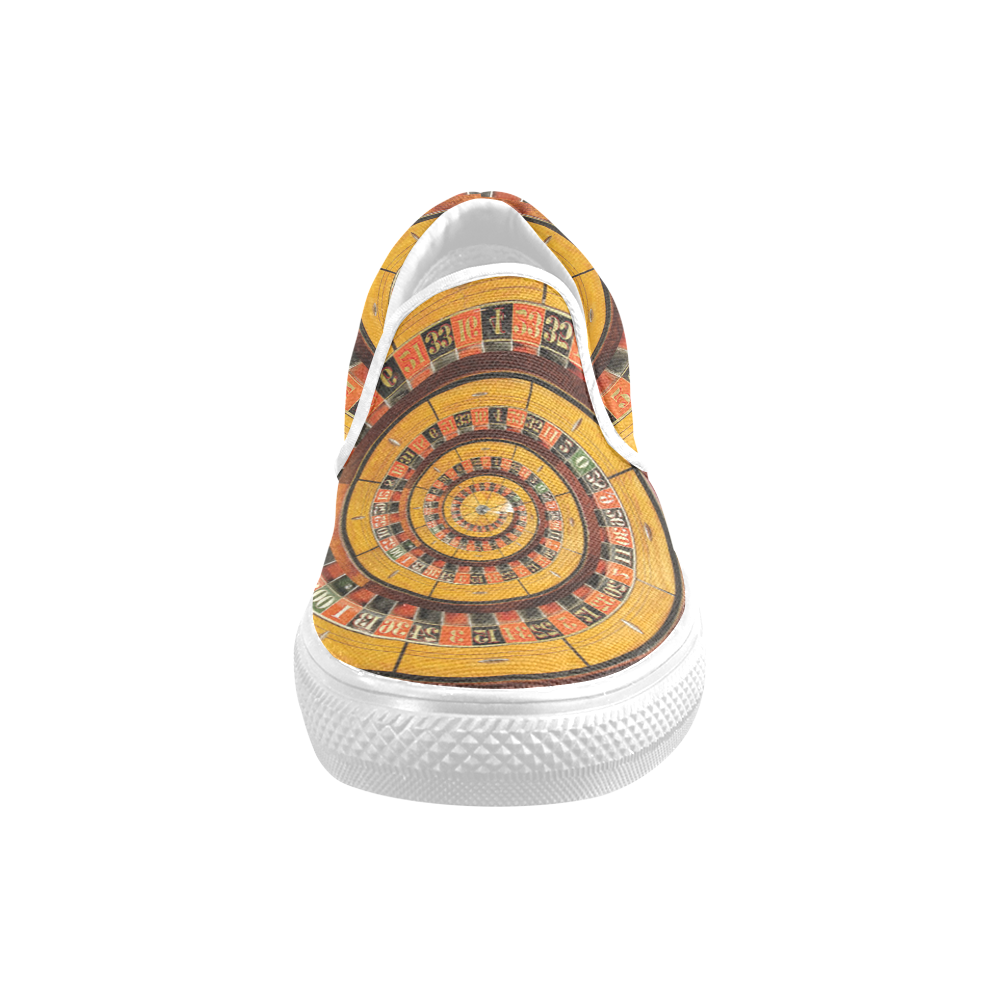 Casino Roullette Wheel Spiral Droste Women's Unusual Slip-on Canvas Shoes (Model 019)