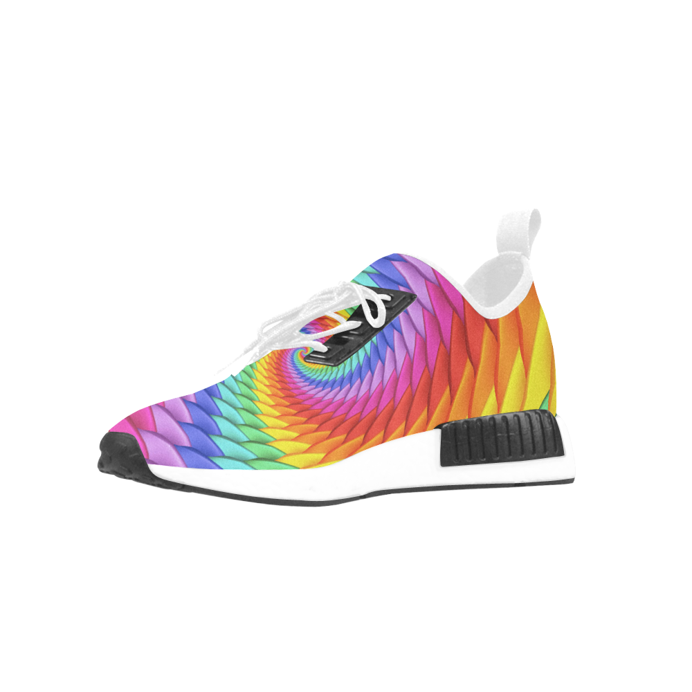 Psychedelic Rainbow Spiral Men's Draco Running Shoes (Model 025)