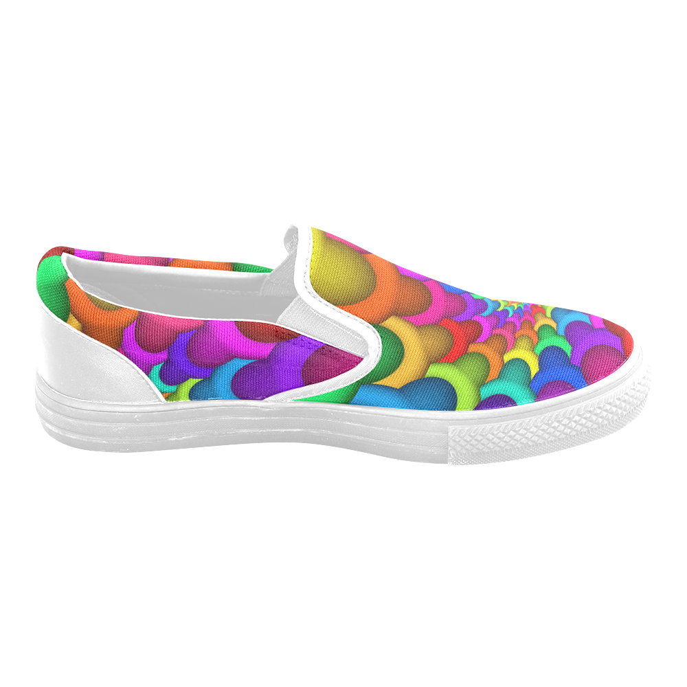 Psychedelic Rainbow Spiral Men's Slip-on Canvas Shoes (Model 019)