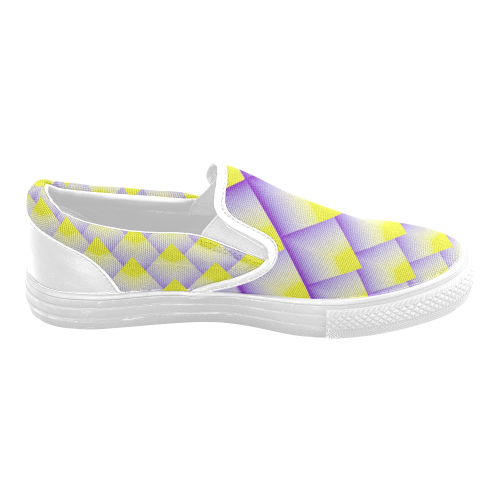 Geometric 3D Purple and Yellow Pyramids Women's Unusual Slip-on Canvas Shoes (Model 019)