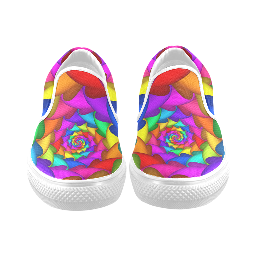 Psychedelic Rainbow Spiral Women's Unusual Slip-on Canvas Shoes (Model 019)