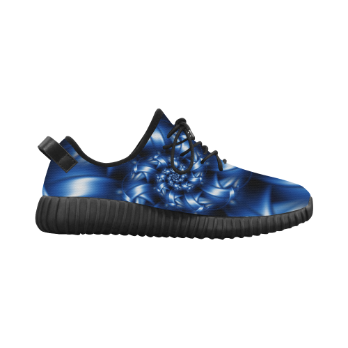 Digital Art Blue Fractal Spiral Grus Women's Breathable Woven Running Shoes (Model 022)