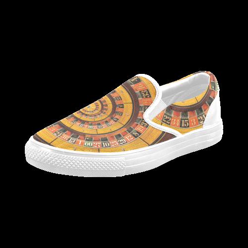 Casino Roullette Wheel Spiral Droste Men's Slip-on Canvas Shoes (Model 019)