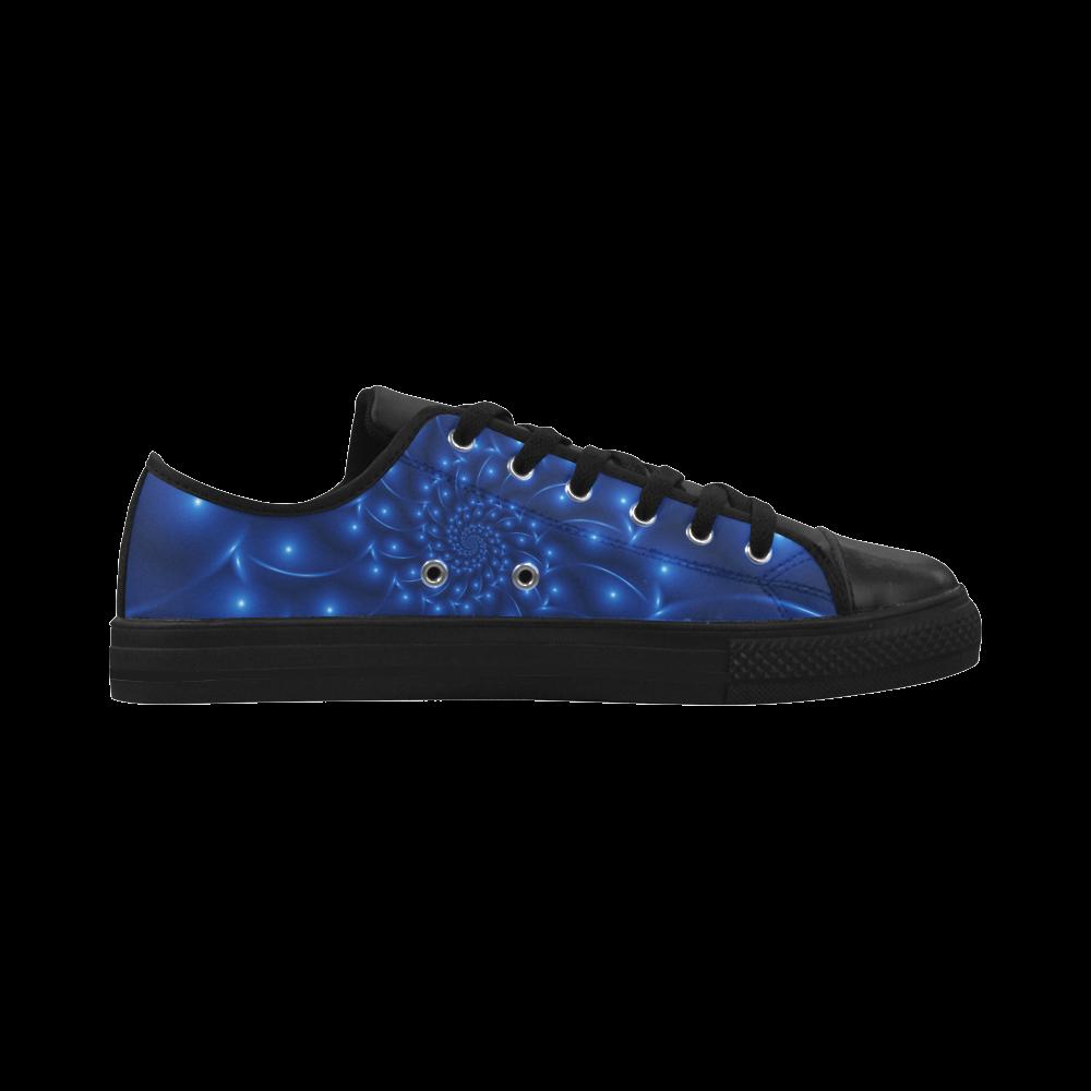 Digital Art Glossy Blue Spiral Fractal Aquila Microfiber Leather Women's Shoes (Model 028)
