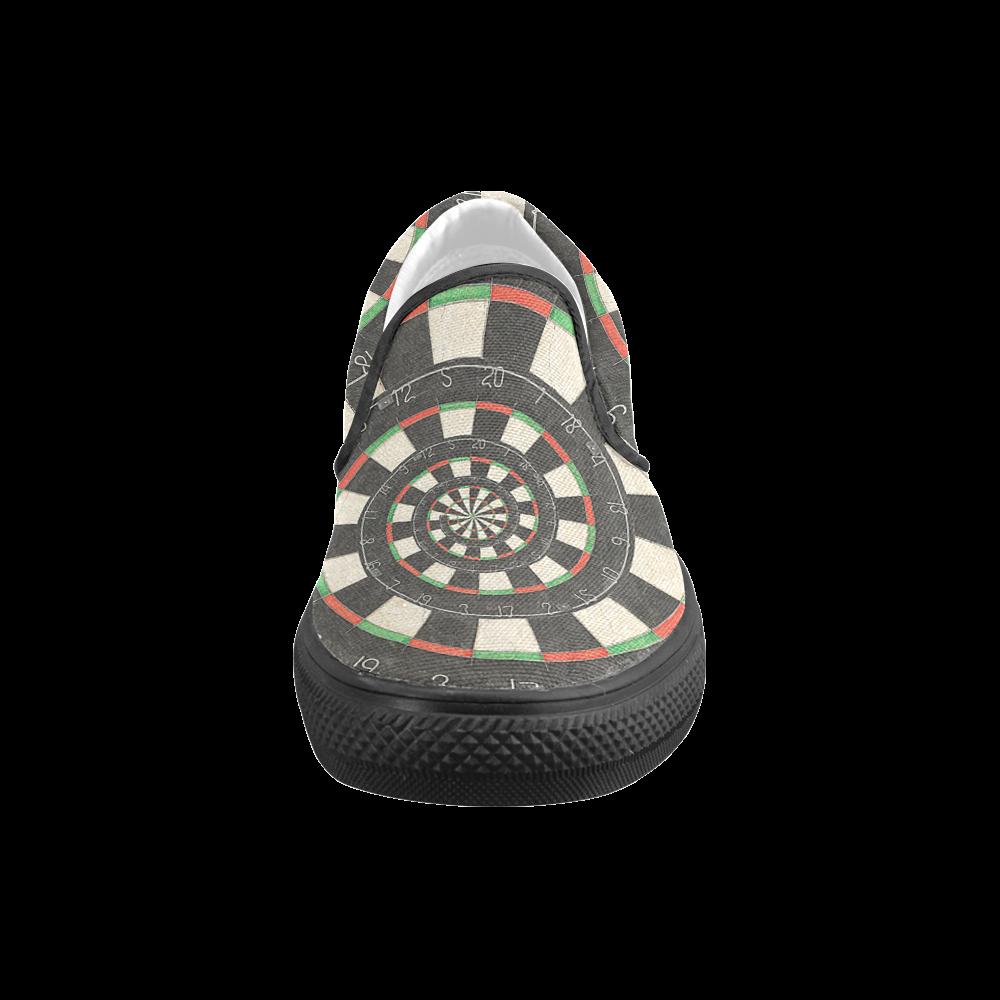 Dart Board Spiral Droste Men's Slip-on Canvas Shoes (Model 019)