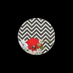 chevron Flower mix black and white Round Coaster