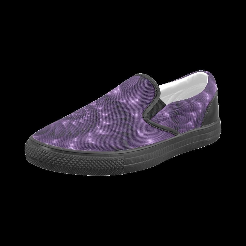 Digital Art Glossy Purple Fractal Spiral Men's Slip-on Canvas Shoes (Model 019)
