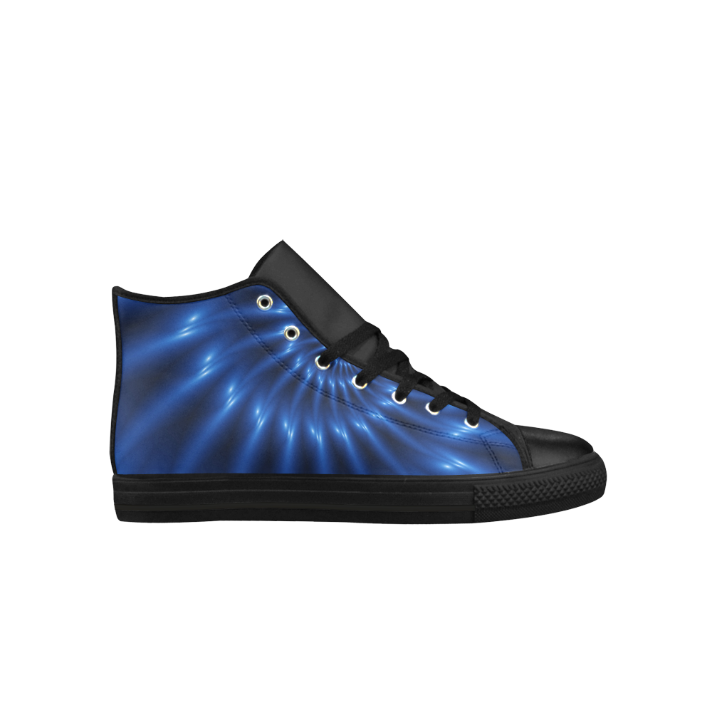 Digital Art Glossy Blue Spiral Fractal Aquila High Top Microfiber Leather Men's Shoes (Model 027)