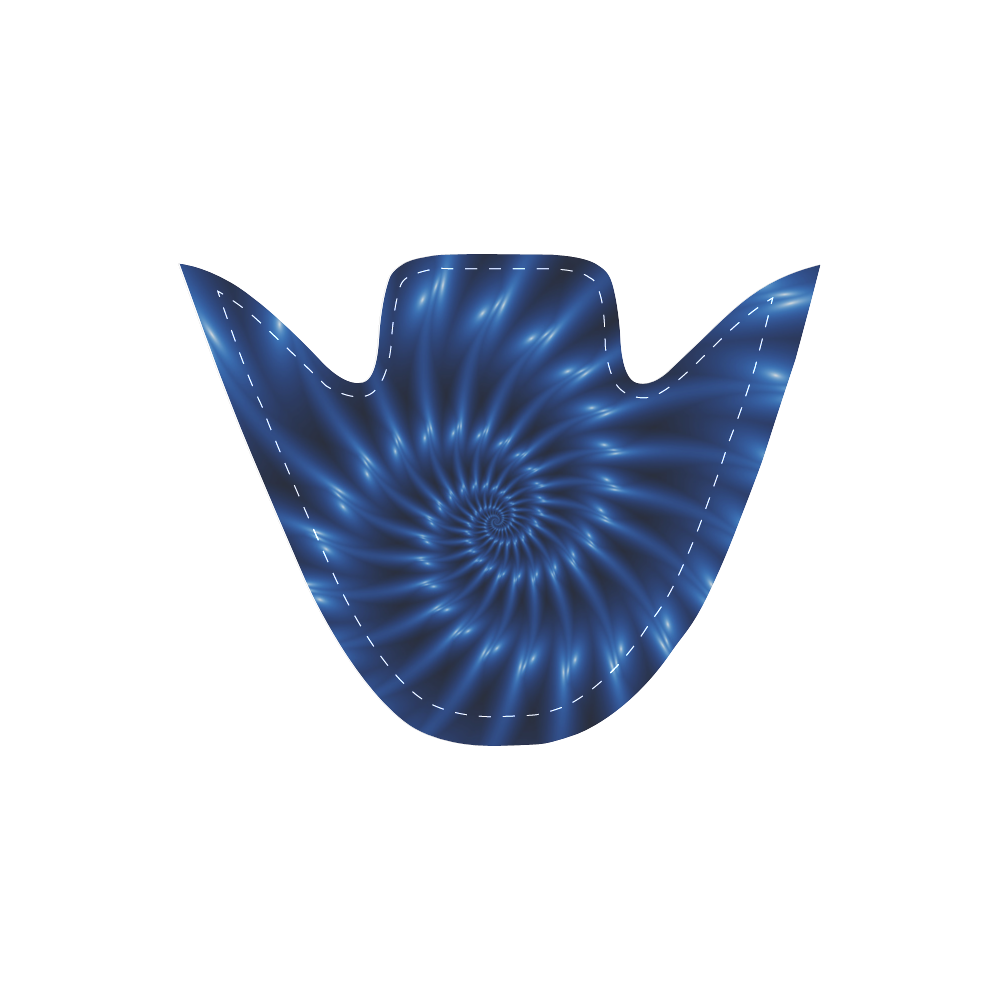 Digital Art Glossy Blue Spiral Fractal Women's Unusual Slip-on Canvas Shoes (Model 019)