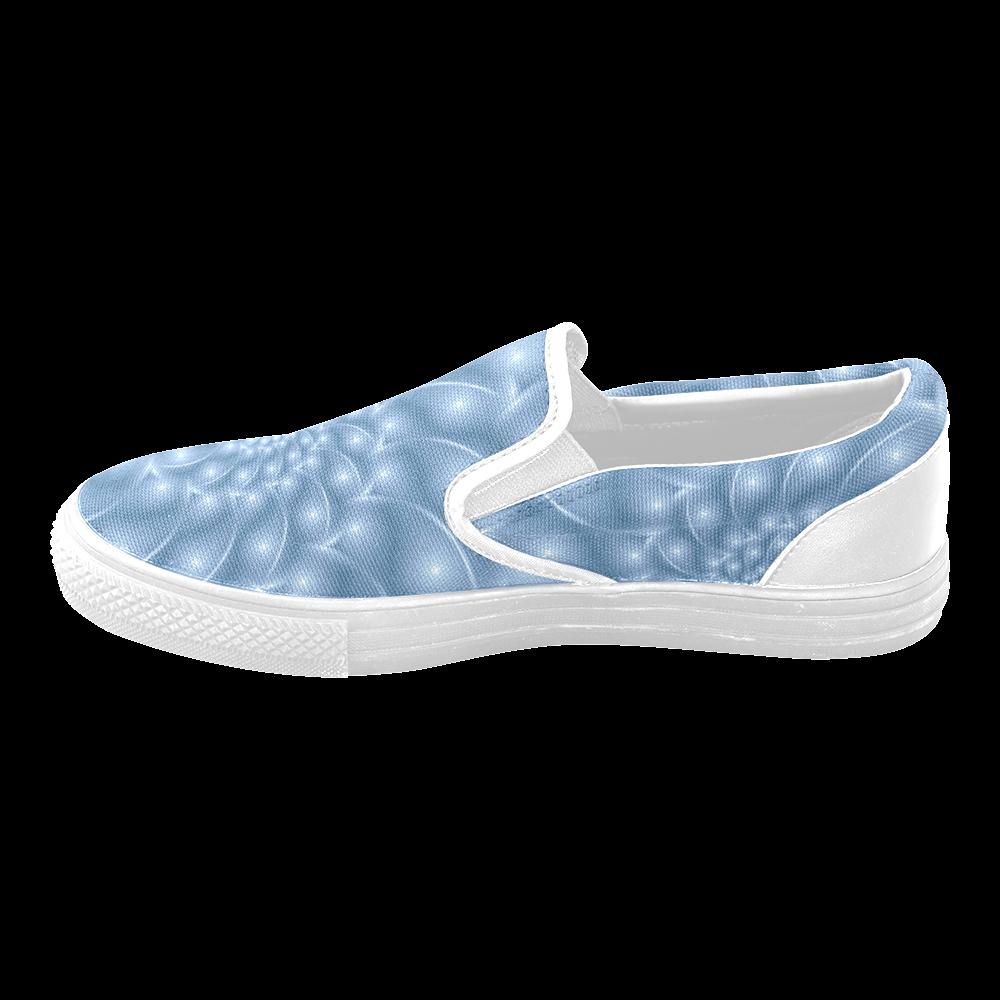 Digital Art Glossy Light Blue Spiral Fractal Women's Unusual Slip-on Canvas Shoes (Model 019)