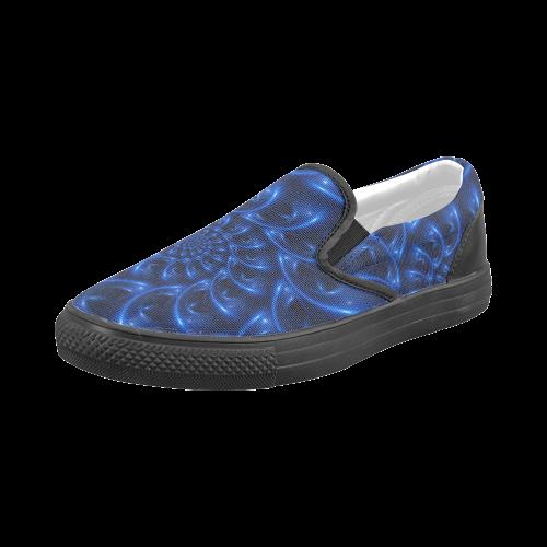 Digital Art Glossy Blue Spiral Fractal Men's Slip-on Canvas Shoes (Model 019)