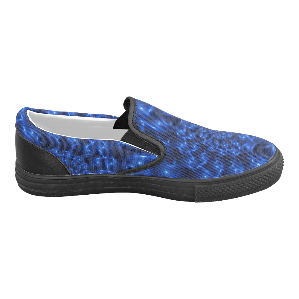 Digital Art Glossy Blue Spiral Fractal Women's Unusual Slip-on Canvas Shoes (Model 019)