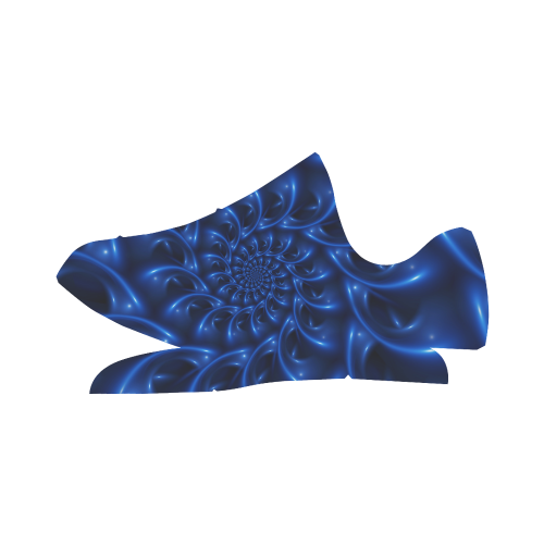 Digital Art Glossy Blue Spiral Fractal Grus Women's Breathable Woven Running Shoes (Model 022)