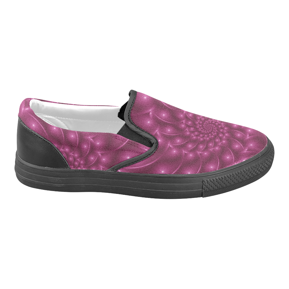 Digital Art Glossy Berry Pink Spiral Fractal Women's Unusual Slip-on Canvas Shoes (Model 019)