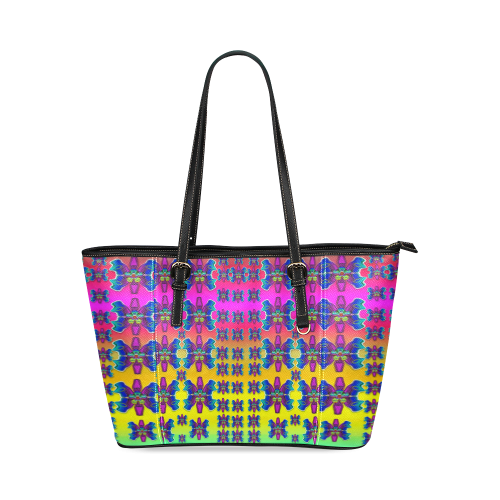 Power Flower Butterflys into paradise Leather Tote Bag/Small (Model 1640)