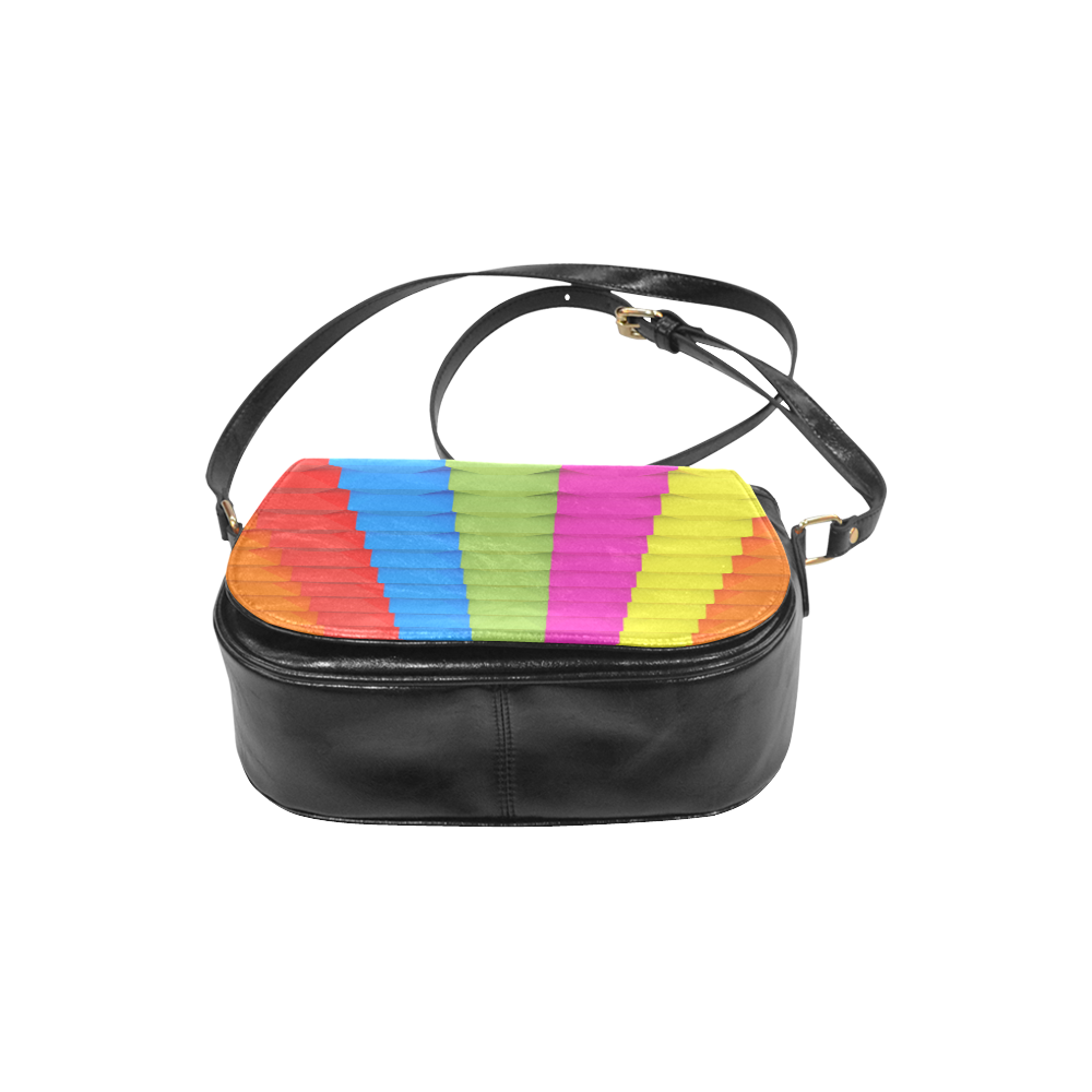Abstract Geometric 3d Colorful Blocks Classic Saddle Bag/Large (Model 1648)