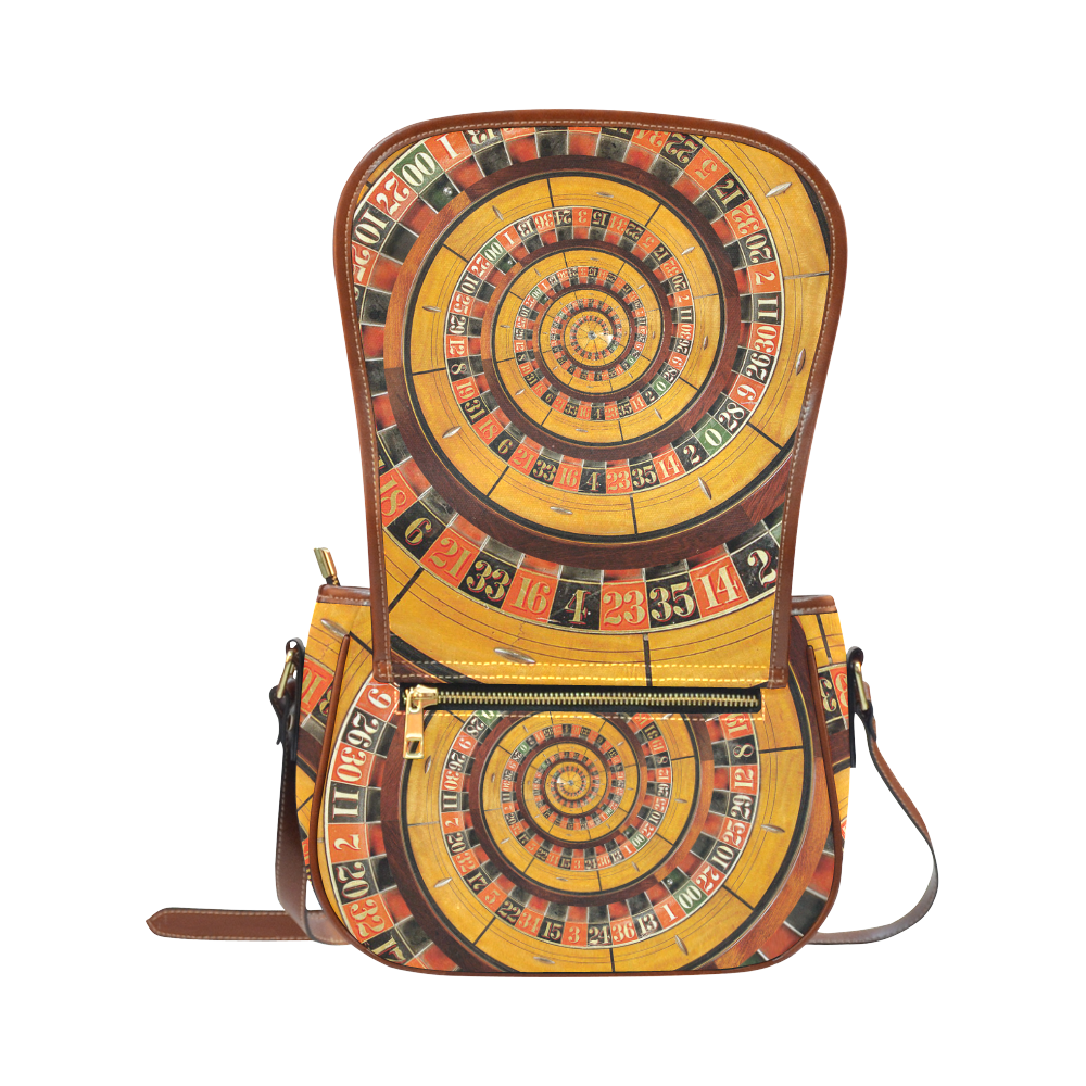 Casino Roullette Wheel Spiral Droste Saddle Bag/Small (Model 1649) Full Customization