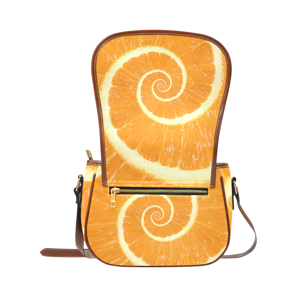 Citrus Orange Spiral Droste Saddle Bag/Large (Model 1649)