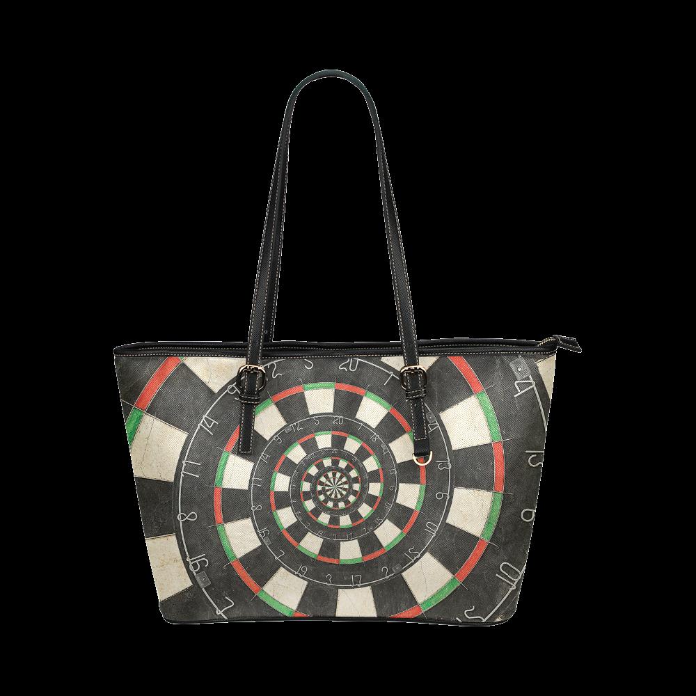 Dart Board Spiral Droste Leather Tote Bag/Small (Model 1651)