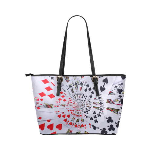 Casino Poker Cards Royal Flush Spiral Droste Leather Tote Bag/Small (Model 1651)