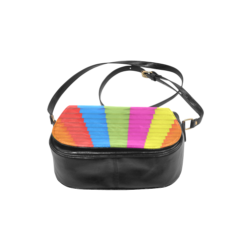 Abstract Geometric 3d Colorful Blocks Classic Saddle Bag/Small (Model 1648)