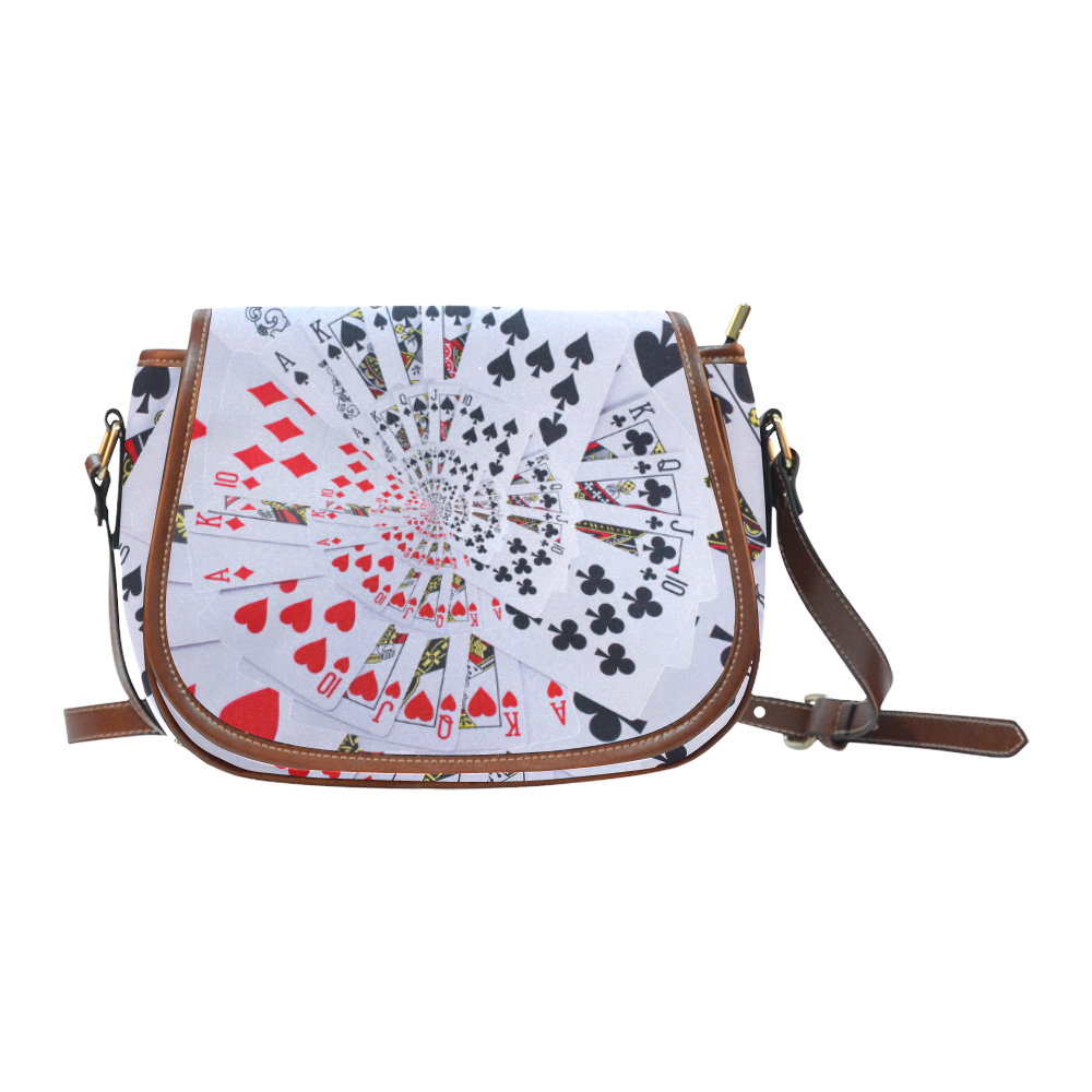 Casino Poker Cards Royal Flush Spiral Droste Saddle Bag/Large (Model 1649)