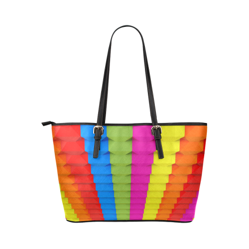 Abstract Geometric 3d Colorful Blocks Leather Tote Bag/Large (Model 1651)