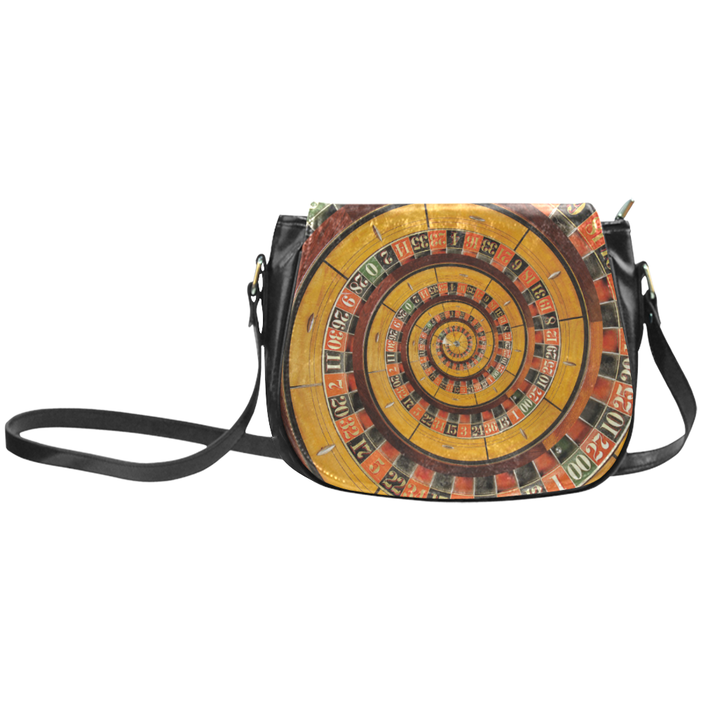 Casino Roullette Wheel Spiral Droste Classic Saddle Bag/Small (Model 1648)