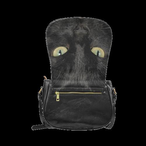 Black Cat Face Portrait Classic Saddle Bag/Small (Model 1648)