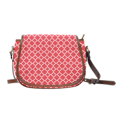 red white quatrefoil classic pattern Saddle Bag/Large (Model 1649)