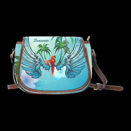 Summer, cute parrot Saddle Bag/Large (Model 1649)