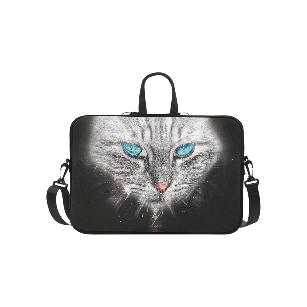 Silver Abstract Cat Face with blue Eyes Macbook Pro 15''