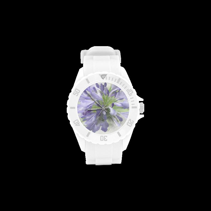 Purple Flower Sport Rubber Strap Watch(Model 301)