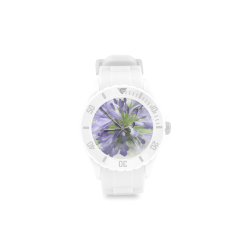 Purple Flower Sport Rubber Strap Watch(Model 301)